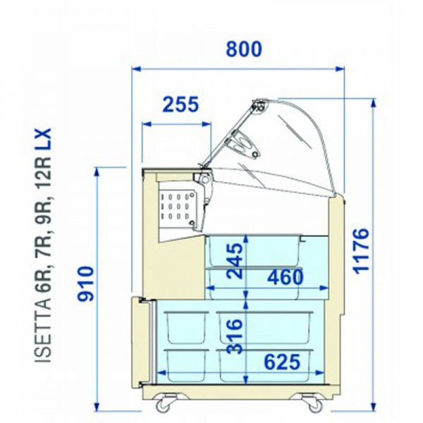 Speiseeisvitrine ISETTA TP LX 7R - Maß-Skizze