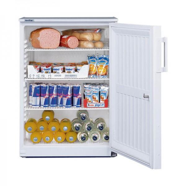 NordCap 405218001 - Gewerbekühlschrank UKU 180 W-G mit Umluftkühlung, Glastür und Innenbeleuchtung, Mini Kühlschrank