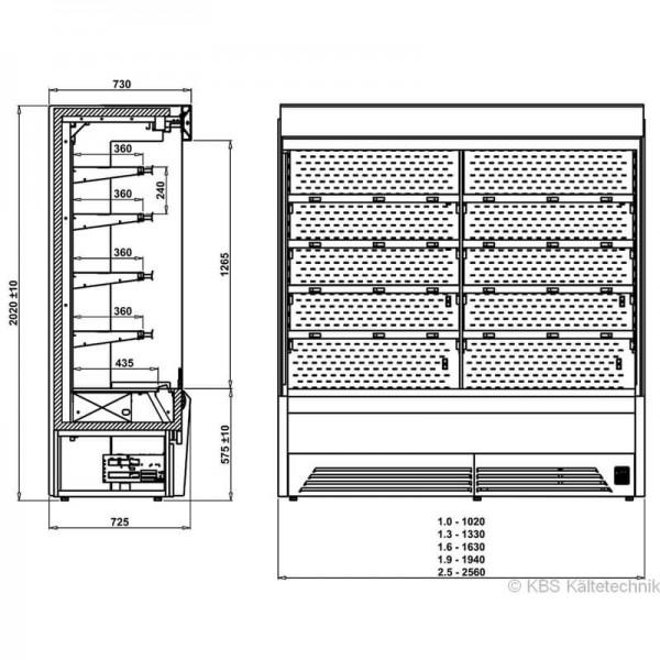 KBS 531133 -  Wandkühlregal Bali Pro 132 - Skizze
