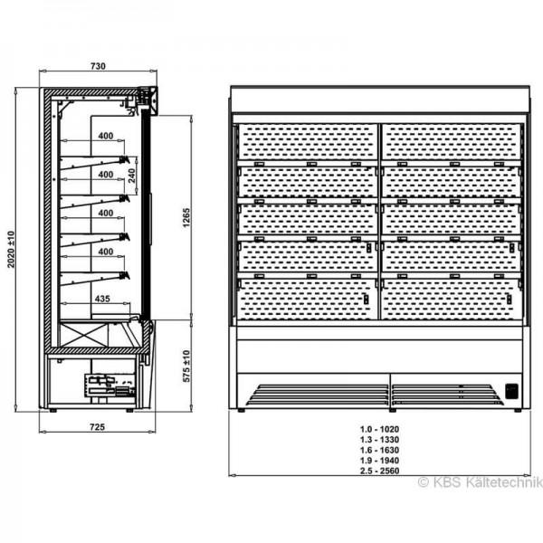 KBS 551133 -  Wandkühlregal Bali Pro 132 mit Schiebetüren - Skizze