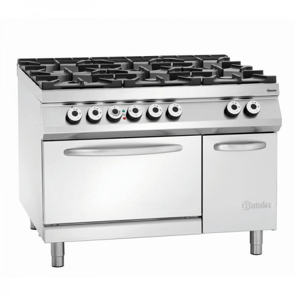 Bartscher 2952291 - 6-Flammen Gasherd Gas BO 2/1GN NS Serie 900 Master