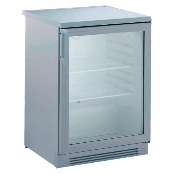 Nordap 402729004 - Umluft Gewerbekühlschrank UKU 162 W Alpeninox mit Glastür, unter- und einbaufähig, Mini Kühlschrank