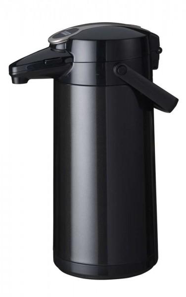 Airpot Furento mit Edelstahlzylinder, Metallmantel, Schwarz-Metallic - 2,2 Liter Kaffeekanne Pumpkan