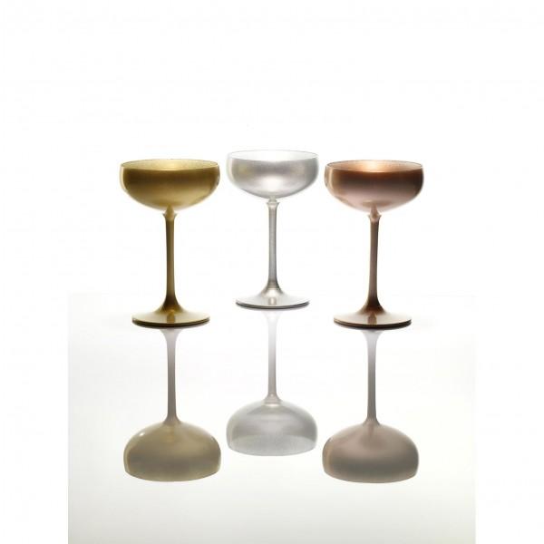 Sektschalen in Gold, Silber und Bronze
