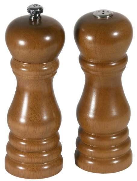 Contacto 6867/160 - Set Salzstreuer Pfeffermühle dunkelbraunes Holz 16 cm Gewürzmühle
