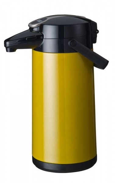 Airpot Furento mit Edelstahlzylinder, Metallmantel, Gelb-Metallic - 2,2 Liter Kaffeekanne Pumpkanne