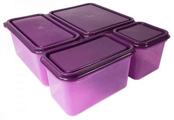 Behälter allergen 1/3 150 mm aus lila Polypropylen, 6 l mit Deckel, Permanentetikett