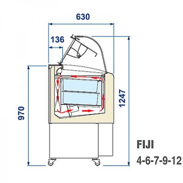 NordCap 453050560060 - Speiseeisvitrine Fiji 9 Eisvitrine - Maßskizze