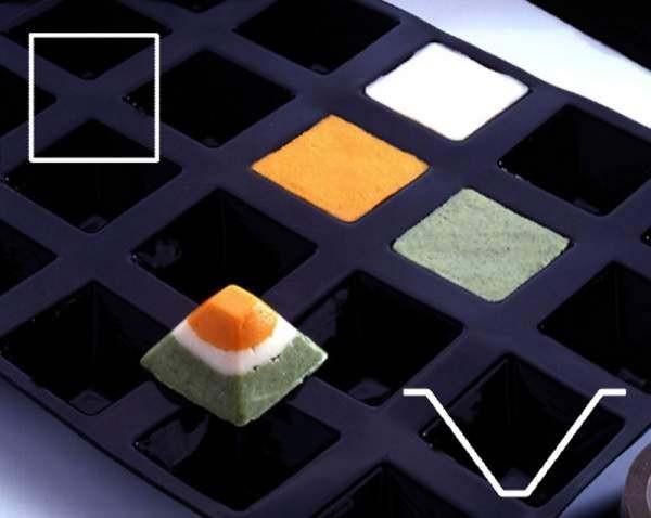 Contacto 6688/071 - Backmatte Pyramide 71 x 71 mm Flexipan, schwarz, GN 1/2