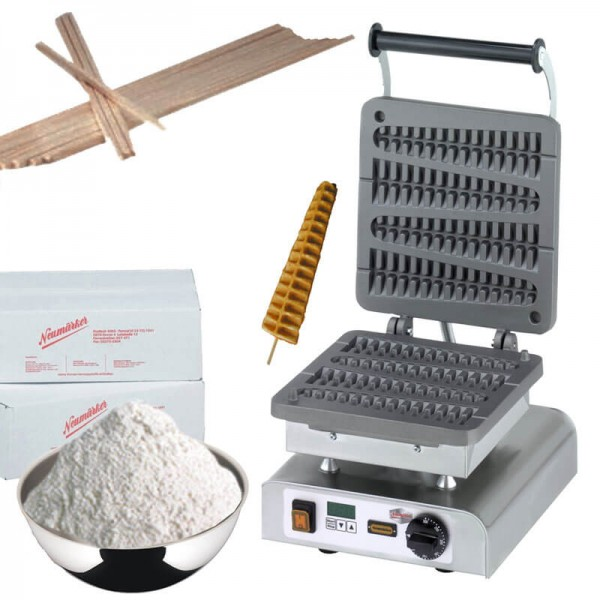Waffeleisen Waffel am Stiel Komplett-Set mit Waffel-Mix