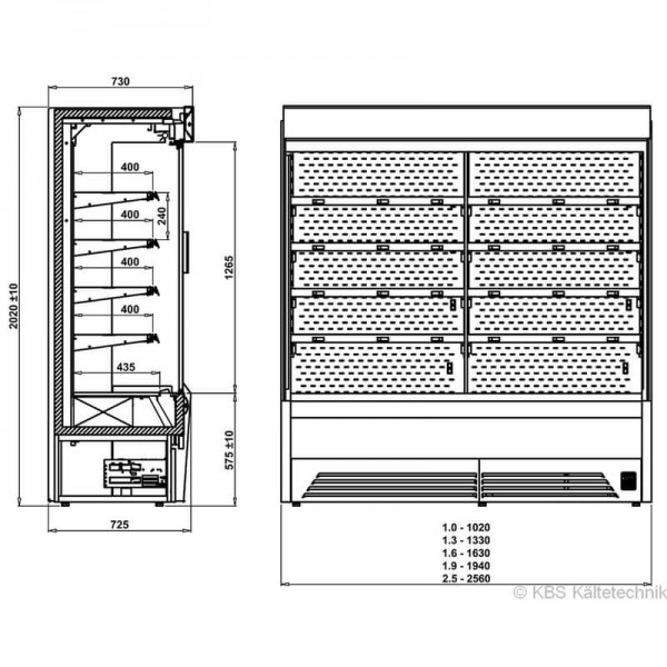KBS 541133 -  Wandkühlregal Bali Pro 132 mit Drehtüren - Skizze