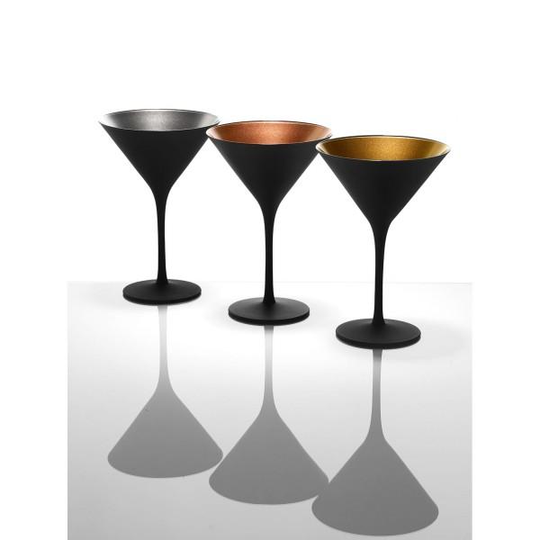 Cocktailglaeser schwarz in gold silber und bronze